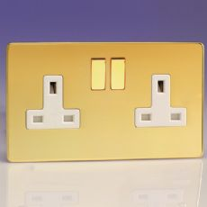 Varilight 2 Gang 13 Amp Switched Plug Socket Screwless Polished Brass Dec Switch White Insert XDV5WS